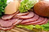Sliced food arrangement of meat — Stock Photo