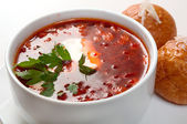Borsch.Ukrainian and russian soup — Stock Photo