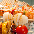 Japanese skewered seafoods vegetables — Stock Photo #6276503