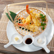 Japanese fried tempura with shrimp - Stock Photo