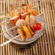 Japanese skewered seafoods vegetables — Stock Photo #6638960