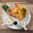 Japanese fried tempura with shrimp — Stock Photo