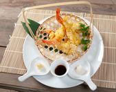 Japanese fried tempura with shrimp — Stock Photo