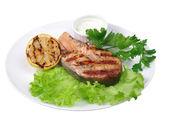 ızgara somon steak — Stok fotoğraf