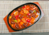 Pork with tart sweet sauce, — Stock Photo