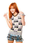 Portrait of cheerful red-haired girl — Stock Photo