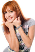 Close-up portrait of pretty red-haired girl — Stockfoto