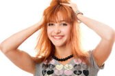 Portrait of cheerful beautiful red-haired girl — Stock Photo