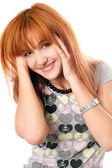 Porträtt av glada vackra rödhåriga flicka — Stockfoto