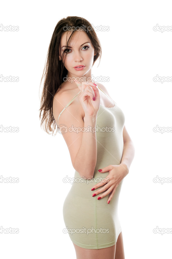 Sexy young woman in tight-fitting olive dress. Isolated — Stock Photo #5525634