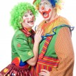 Couple of funny clowns. Isolated — Stock Photo