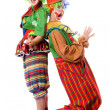 Two clowns are back to back — Stock Photo #5634227