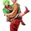 Stock Photo: Couple of joyful clowns