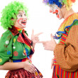 Stock Photo: Couple of cheerful clowns