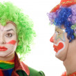 Stock Photo: Pair of serious clowns
