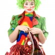 Stock Photo: Portrait of sad female clown
