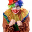 Portrait of an anger clown - Stock Photo
