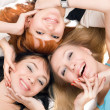 Three young playful women — Stock Photo