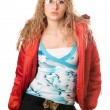 Stock Photo: Young blonde wearing glasses in red jacket