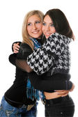 Portrait of two happy girls embracing — Stock Photo