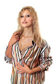 Sexy blonde in a striped men's shirt — Stock Photo