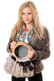ハンドバッグ魅力的な若いブロンドの肖像画 — ストック写真