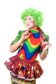 Portrait of expressive female clown — Stock Photo