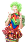 Portrait of happy female clown — Stock Photo