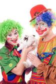 Two joyful clown with a white rabbit — Stock Photo
