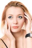 Closeup portrait of a pensive blonde — Stock Photo