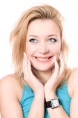 Closeup portrait of a cheerful attractive blonde — Stock Photo