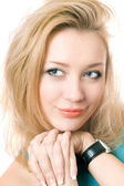 Closeup portrait of a young blonde — Stock Photo