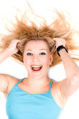 Portrait of happy young blond girl — Stock Photo