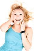 Portrait of joyful young blond girl — Stock Photo