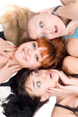 Three excited women — Stockfoto