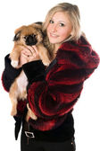 Blond woman holding a pekinese puppy — Stock Photo