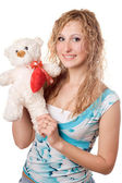 Blonde with teddy bear — Stock Photo