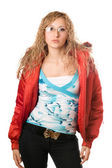 Young blonde wearing glasses in red jacket — Stock Photo