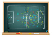 Soccer strategy on the blackboard — Stock Vector