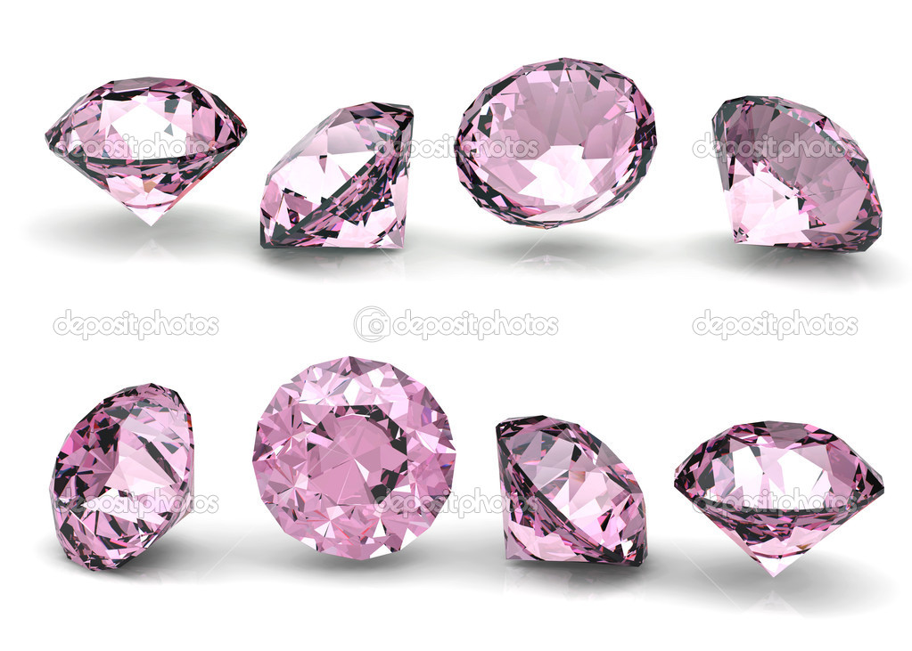 Collection of round pink diamond  isolated on white background  — Stock Photo #5753874