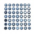 Set of round blue sapphire isolated. Gemstone cut diamond — Stock Photo