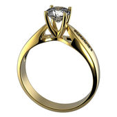 Ring with diamond isolated — Foto Stock