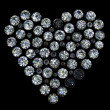 Set of round diamond  shape of heart -  
