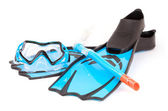 Flippers, glasses and snorkel — Stock Photo