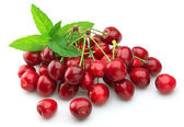 Cherry with mint leaf — Stock Photo