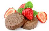 Jahody s čokoládový dort — Stock fotografie