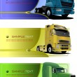 Three zipper banners with trucks. Vector illustration - Imagens vectoriais em stock