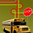 Yellow school bus and city junction. Vector illustration - Stock Vector