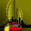 Abstract urban modern composition with red-yellow truck image. V — Stock Vector