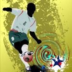grunge stijl poster voetbal voetbalspeler — Stockvector